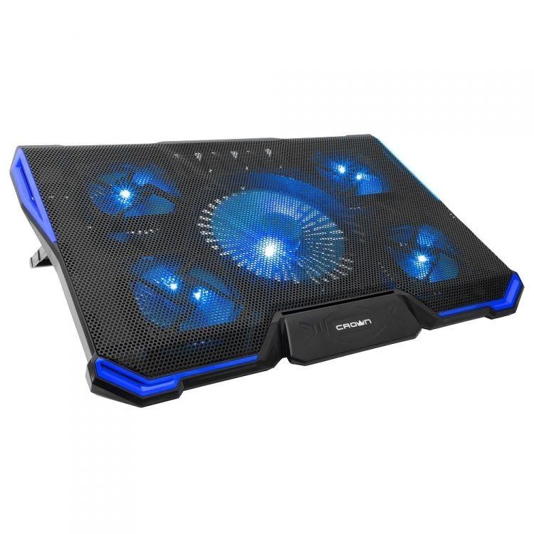 "CROWN  Подставка для ноутбука CMLS-k331 BLUE ( до 19"" Размер 410*292*29мм , кулеры: D140mm*1+ D80mm*4, синяя led подсветка, регулятор скорости, 7 уровней наклона)"