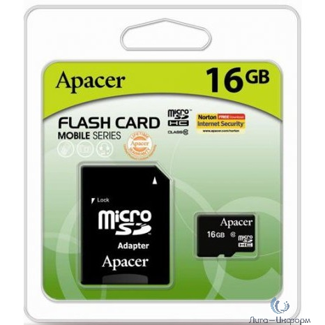 Micro SecureDigital 16Gb Apacer AP16GMCSH10U1-R {MicroSDHC Class 10 UHS-I U1, SD adapter}