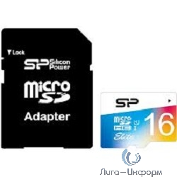 Micro SecureDigital 16Gb Silicon Power SP016GBSTHBU1V20SP {MicroSDHC Class 10, SD adapter}