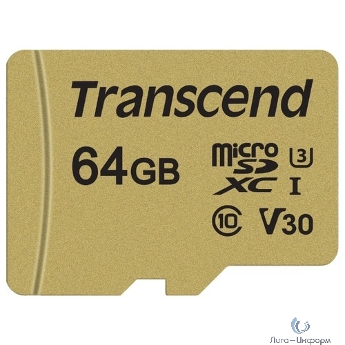 Micro SecureDigital 64Gb Transcend Class 10 TS64GUSD500S {MicroSDXC Class 10 UHS-I U3, SD adapter}