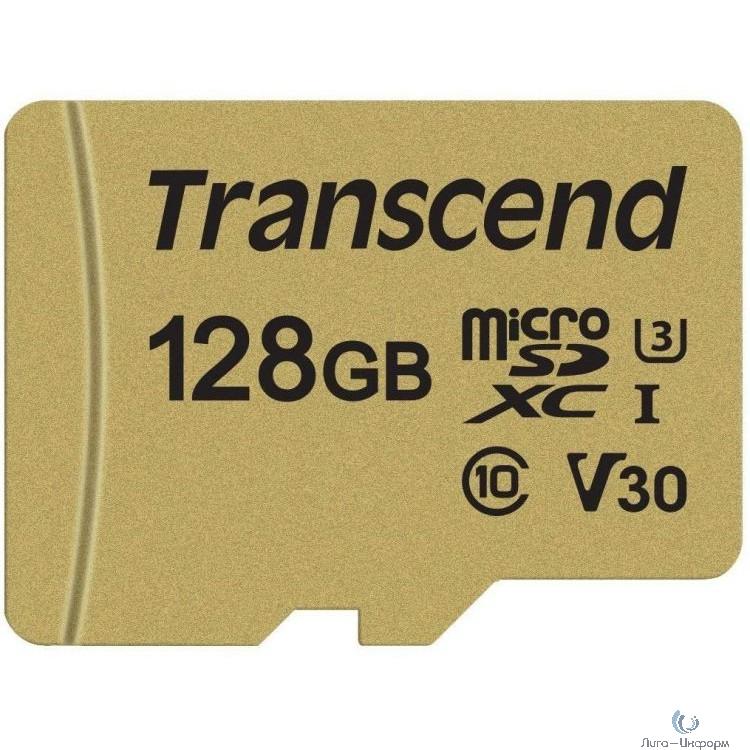 Micro SecureDigital 128Gb Transcend Class 10 TS128GUSD500S {MicroSDXC Class 10 UHS-I U3, SD adapter}