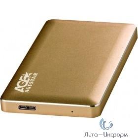 """AgeStar 3UB2A16 (GOLD) USB 3.0 Внешний корпус 2.5"""" SATA, алюминий, золотой, безвинтовая конструкция"""