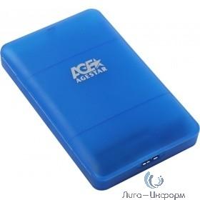 """AgeStar 3UBCP3 (BLUE) USB 3.0 Внешний корпус 2.5"""" SATAIII HDD/SSD USB 3.0, пластик, синий, безвинтовая конструкция"""
