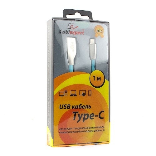 Cablexpert Кабель USB 2.0 CC-G-USBC01Bl-1M AM/<wbr>Type-C, серия Gold, длина 1м, синий, блистер
