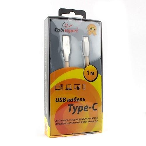 Cablexpert Кабель USB 2.0 CC-G-USBC01Gd-1M AM/<wbr>Type-C, серия Gold, длина 1м, золотой, блистер