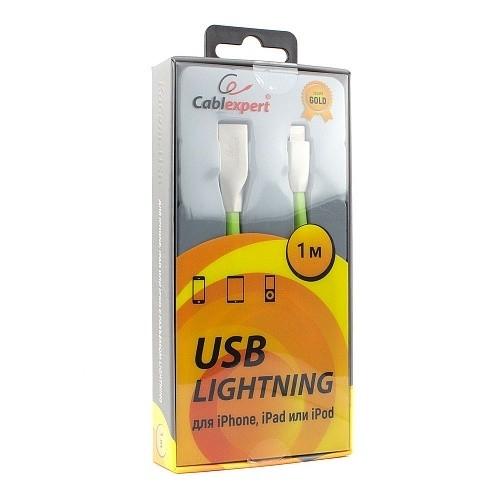 Cablexpert Кабель для Apple CC-G-APUSB01Gn-1M, AM/<wbr>Lightning, серия Gold, длина 1м, зеленый, блистер