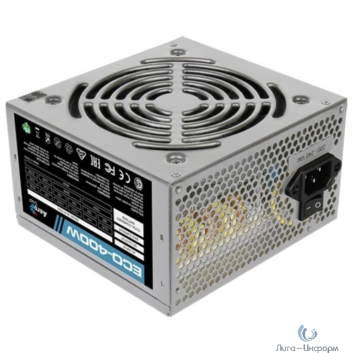 Aerocool 400W Retail ECO-400W ATX v2.3 Haswell, fan 12cm, 400mm cable, power cord, 20+4P, 12V 4P, 1x PCI-E 6P, 2x SATA, 2x PATA, 1x FDD