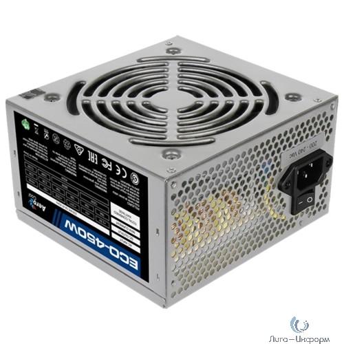 Aerocool 450W Retail ECO-450W ATX v2.3 Haswell, fan 12cm, 400mm cable, power cord, 20+4P, 12V 4P, 1x PCI-E 6P, 2x SATA, 2x PATA, 1x FDD