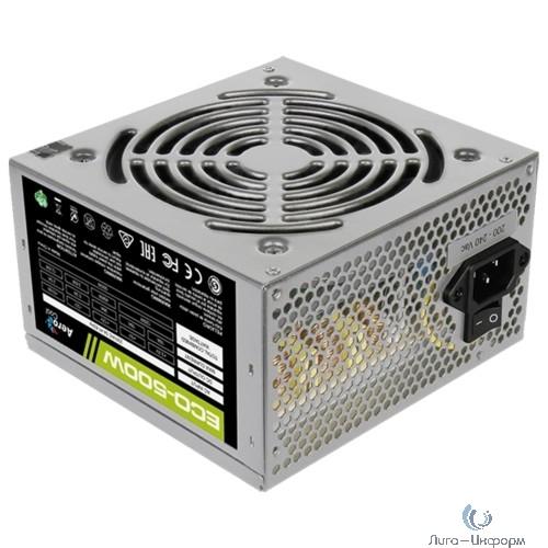 Aerocool 500W Retail ECO-500W ATX v2.3 Haswell, fan 12cm, 400mm cable, power cord, 20+4P, 12V 4P, 1x PCI-E 6P, 3x SATA, 2x PATA, 1x FDD