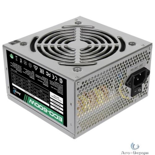 Aerocool 600W Retail ECO-600W ATX v2.3 Haswell, fan 12cm, 400mm cable, power cord, 20+4P, 12V 4+4P, 1x PCI-E 6+2P, 4x SATA, 3x PATA, 1x F