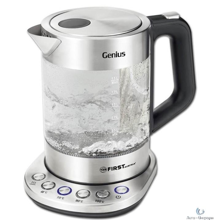 FIRST FA-5405-5 Чайник Мощность: 2200 Вт.Емкость: 1.8 л.Корпус из цветного, экологического, стекла.Black