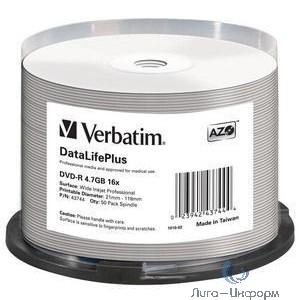 Verbatim DVD-R 4,7 GB 16x CB/50 Full Ink Print Professional (43744)