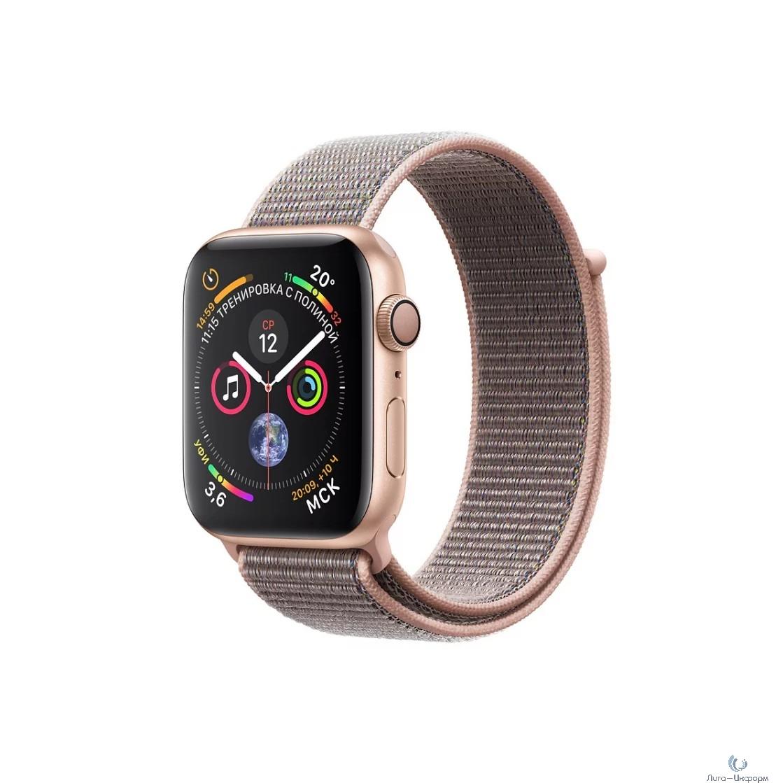 Apple Watch Series 4, 40 мм, корпус из алюминия золотого цвета, спортивный браслет цвета «розовый песок» [MU692RU/A]