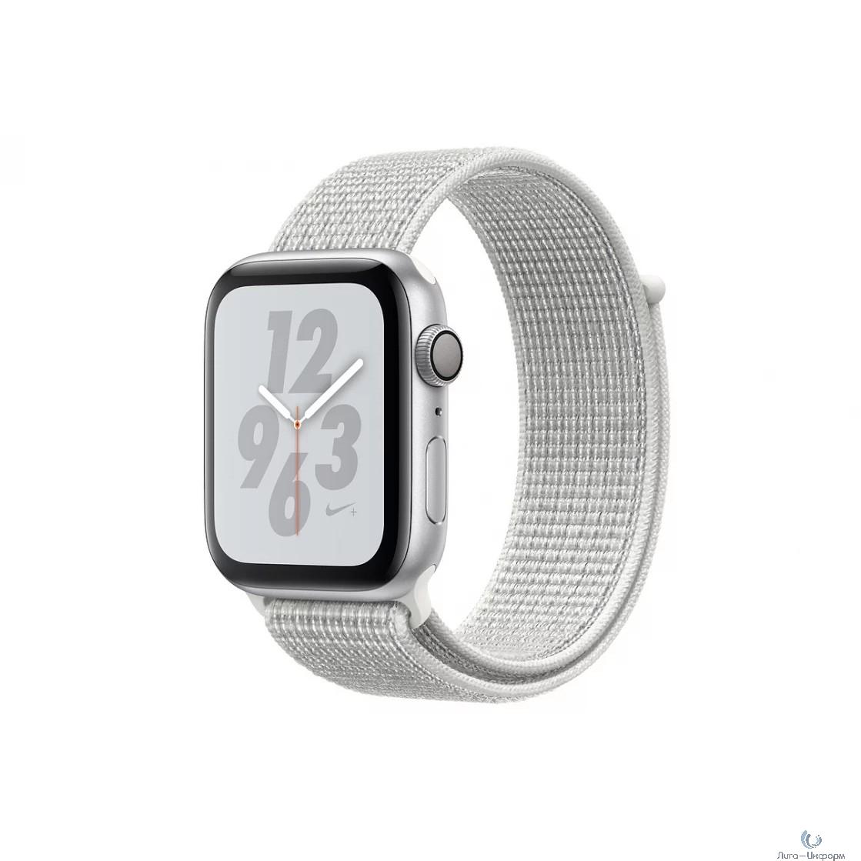 Apple Watch Nike+ Series 4, 40 мм, корпус из алюминия серебристого цвета, спортивный браслет Nike цвета «снежная вершина» [MU7F2RU/A]