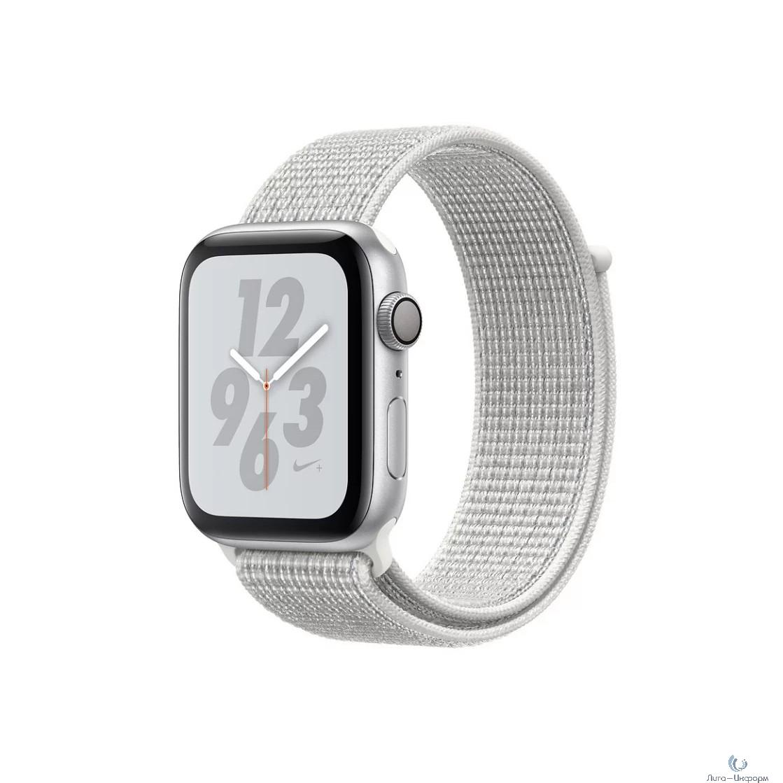 Apple Watch Nike+ Series 4, 44 мм, корпус из алюминия серебристого цвета, спортивный браслет Nike цвета «снежная вершина» [MU7H2RU/A]