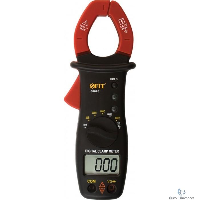 FIT EM406A Клещи токоизмерительные 0,1 мВ-600 В; 0,1 В-600 В; 10 мА-600 А; 1 Ом-2 кОм; сумка; короб. [80628]