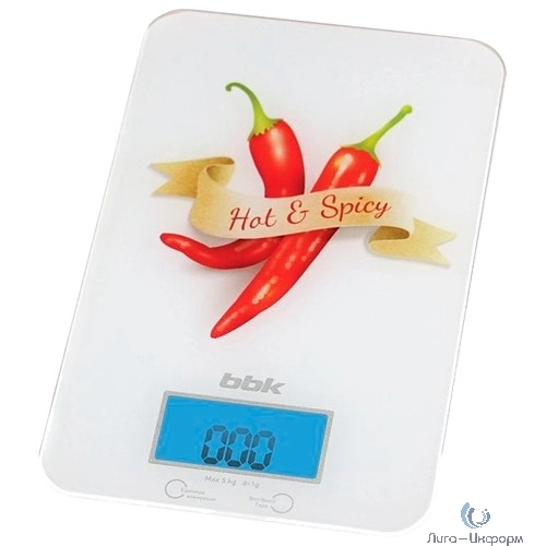 BBK KS106G Весы кухонные , стекло/ пластик, 5 кг, чёрный/красный