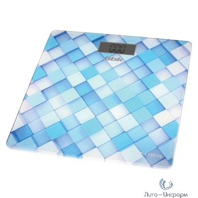 BBK BCS3001G Весы напольные, стекло, 150 кг, рисунок-голубой