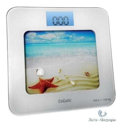 BBK BCS7001 Весы напольные, стекло, 150 кг, белый/ голубой
