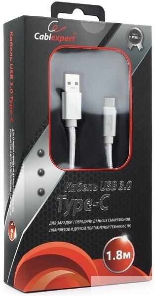 Cablexpert Кабель USB 3.0 CC-P-USBC03S-1.8M AM/<wbr>Type-C, серия Platinum, длина 1.8м, серебро, блистер