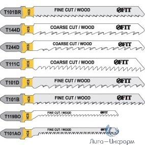 FIT HQ Полотна по дереву, HCS, шлифованные под свободным углом, реверсивные зубья, 100/74/2,5 мм (T101BR), 2 шт. [40949]