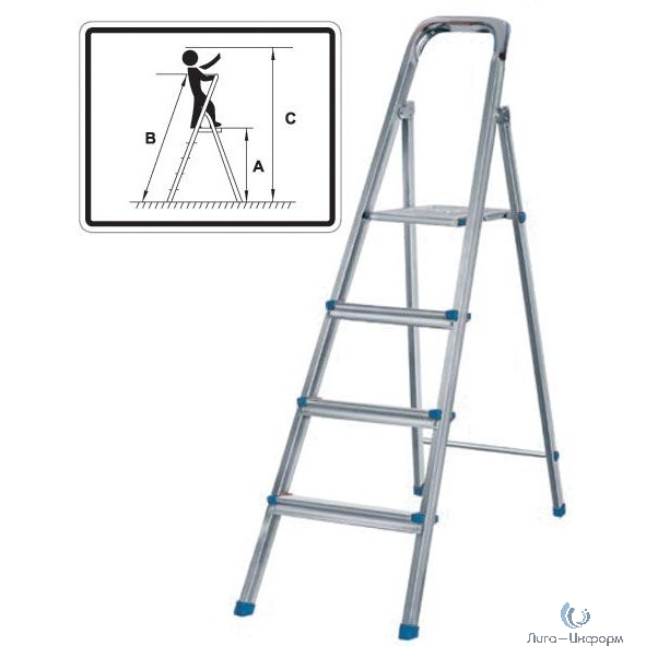 FIT КУРС РОС Лестница-стремянка стальная, 8 ступеней, вес 8,85 кг [65330]