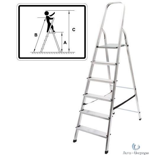 FIT РОС Лестница-стремянка алюминиевая, 6 ступеней, вес 4,6 кг [65344]