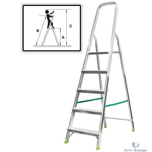 FIT КУРС РОС Лестница-стремянка алюминиевая, 5 ступеней, вес 4,0 кг [65353]