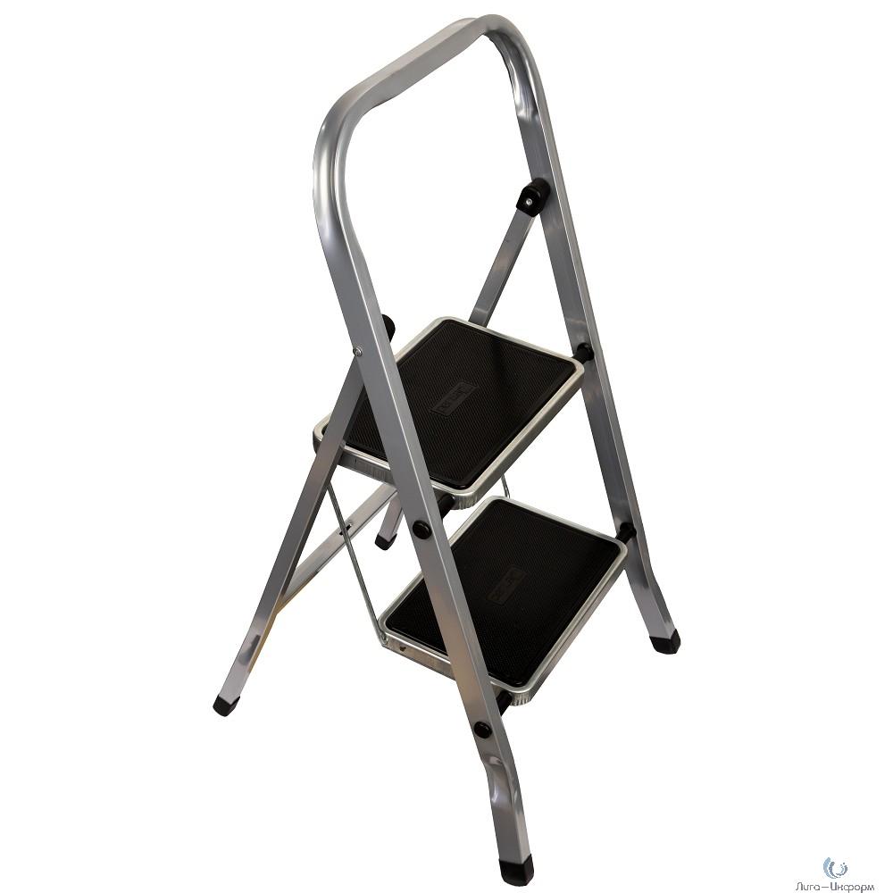 FIT РОС Лестница-стремянка стальная, 2 широкие ступени,  Н=83 см, вес 3,45 кг [65381]