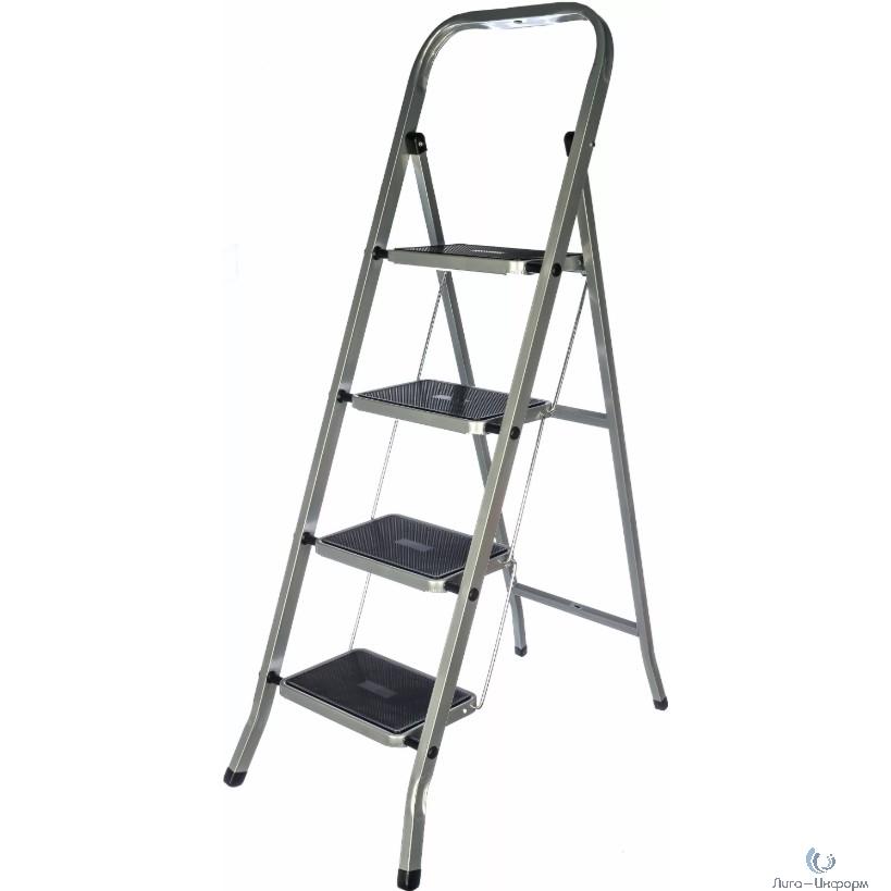 FIT РОС Лестница-стремянка стальная, 4 широкие ступени, Н=129 см, вес 6,25 кг [65383]