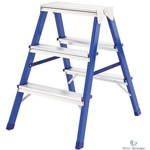 FIT КУРС РОС Лестница-стремянка стальная двусторонняя, 3 ступени, Н=65 см, вес 3,1 кг [65392]