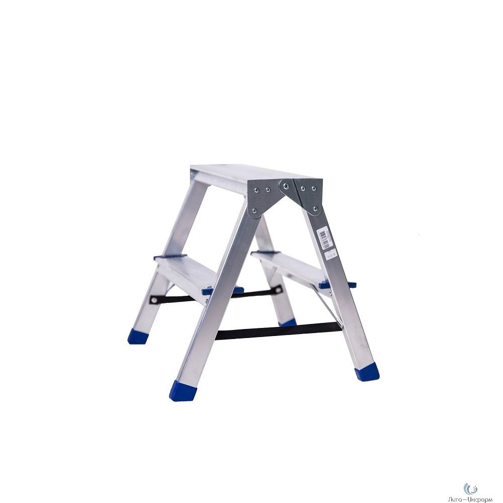 FIT КУРС РОС Лестница-стремянка алюминиевая двусторонняя, 2 ступени, Н=43 см, вес 1,9 кг [65396]