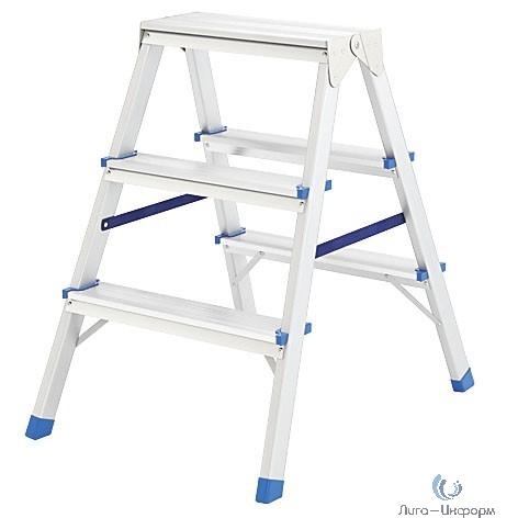 FIT КУРС РОС Лестница-стремянка алюминиевая двусторонняя, 3 ступени, Н=65 см, вес 2,6 кг [65397]