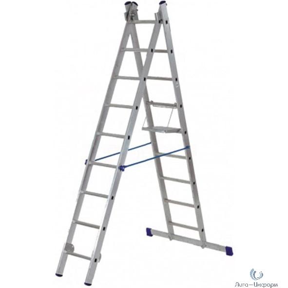 FIT РОС Лестница двухсекционная алюминиевая, 2 х 9 ступеней, H=257/426 см, вес 7,34 кг  [65424]