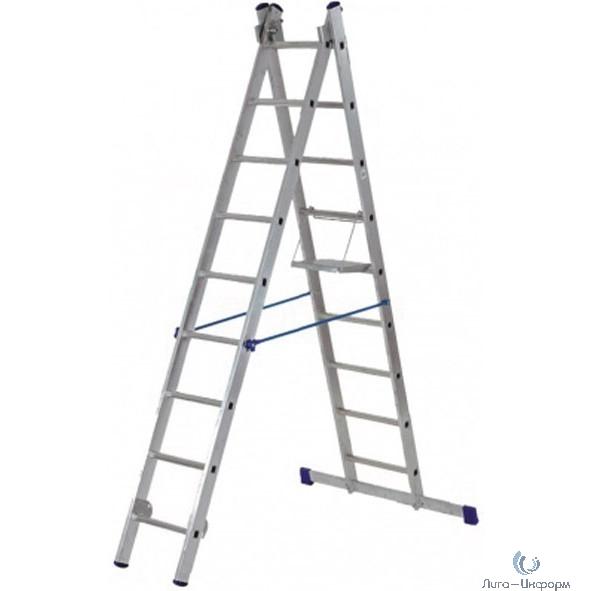 FIT РОС Лестница двухсекционная алюминиевая, 2 х 11 ступеней, H=312/536 см, вес 10,51 кг [65426]