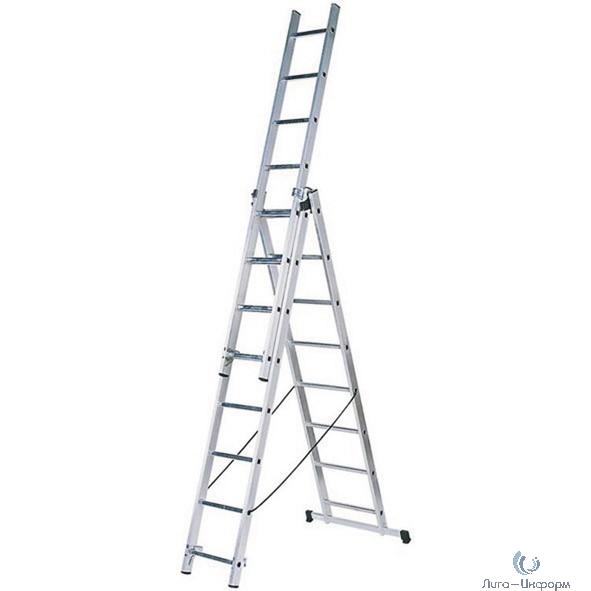 FIT КУРС РОС Лестница трехсекционная алюминиевая, 3 х 10 ступеней, Н=282/476/646 см, вес 14,3 кг [65445]