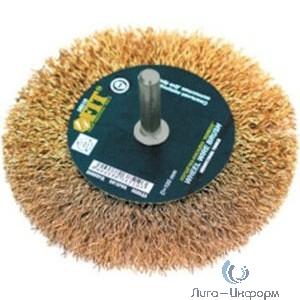 FIT IT Корщетка-колесо, со штифтом, стальная латунированная волнистая проволока 100 мм [38510]