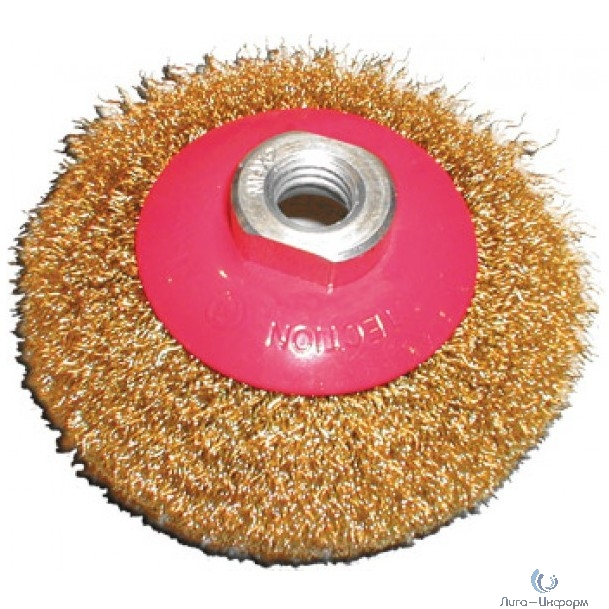 FIT IT Корщетка-колесо с наклоном, гайка М14, стальная волнистая латунированная проволока 100 мм [39050]