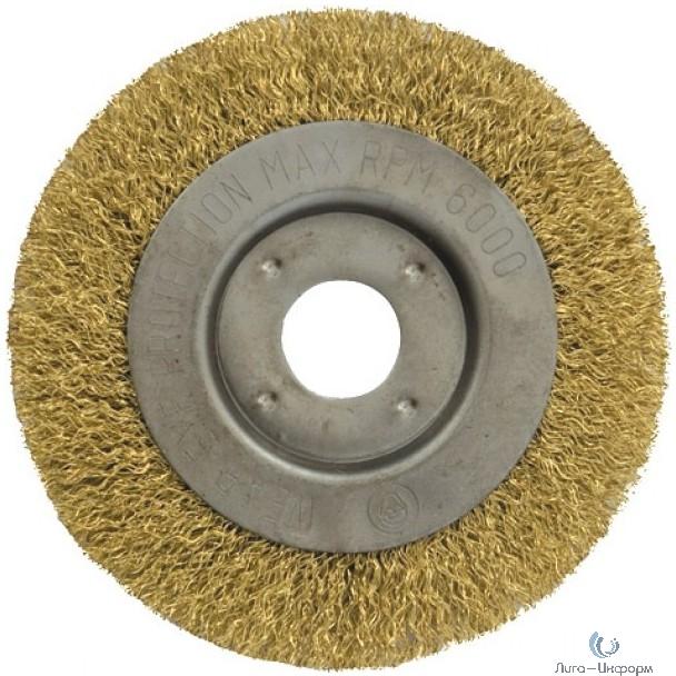 FIT IT Корщетка-колесо, посадочный диаметр 22,2 мм, стальная латунированная волнистая проволока 180 мм [39067]