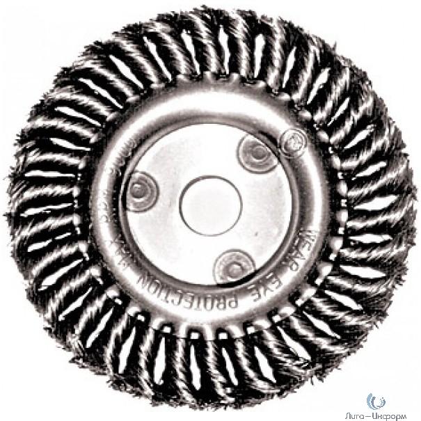 FIT IT Корщетка-колесо, посадочный диаметр 22,2 мм, стальная витая проволока 200 мм [39109]