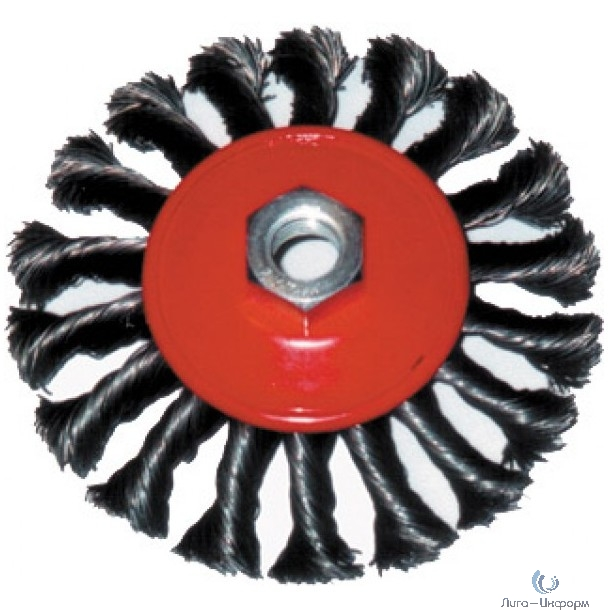 FIT IT Корщетка-колесо с наклоном, гайка М14, стальная витая проволока 100 мм [39114]