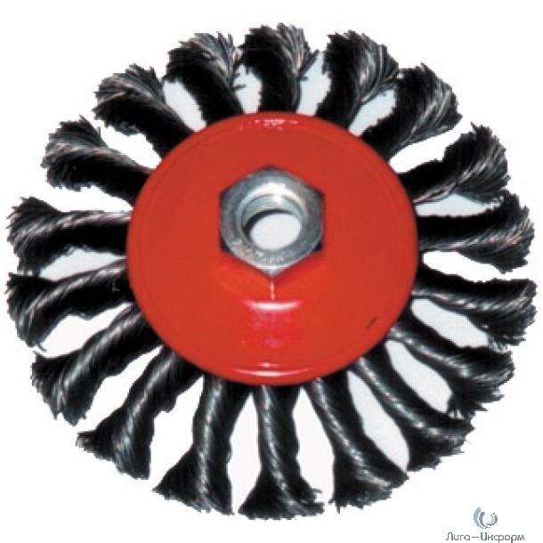 FIT IT Корщетка-колесо с наклоном, гайка М14, стальная витая проволока 125 мм [39116]