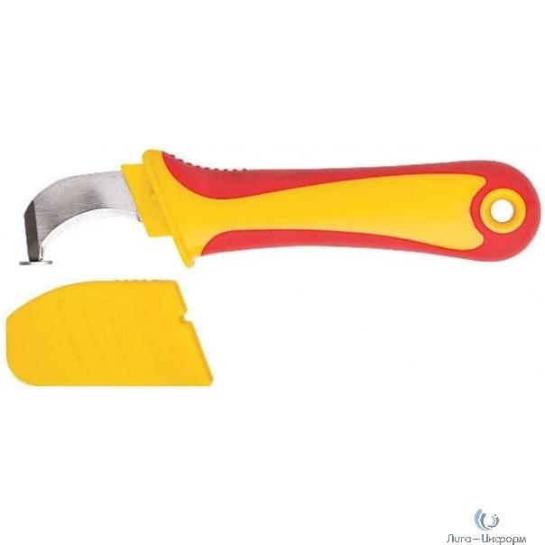 FIT IT Нож изолированный 1000 В с пяткой, нерж.сталь, 170 мм, прорезин.ручка [10604]