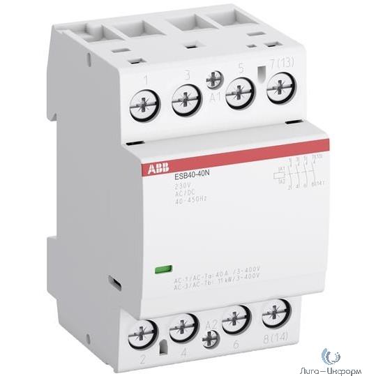 ABB 1SAE341111R0622 Контактор ESB40-22N-06 модульный (40А АС-1, 2НО+2НЗ), катушка 230В AC/DC