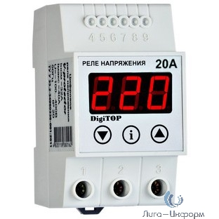 DigiTOP Vp-20A Реле напряжения однофазное на DIN-рейку, 50-400В, макс. 30А, 5-600 сек.