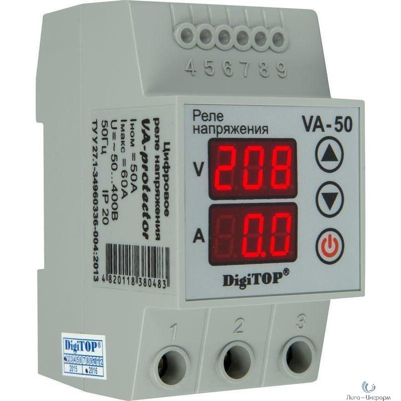DigiTOP VA-50A Реле напряжения с контролем тока на DIN-рейку, 0-400В, макс. 60А, 5-600 сек.