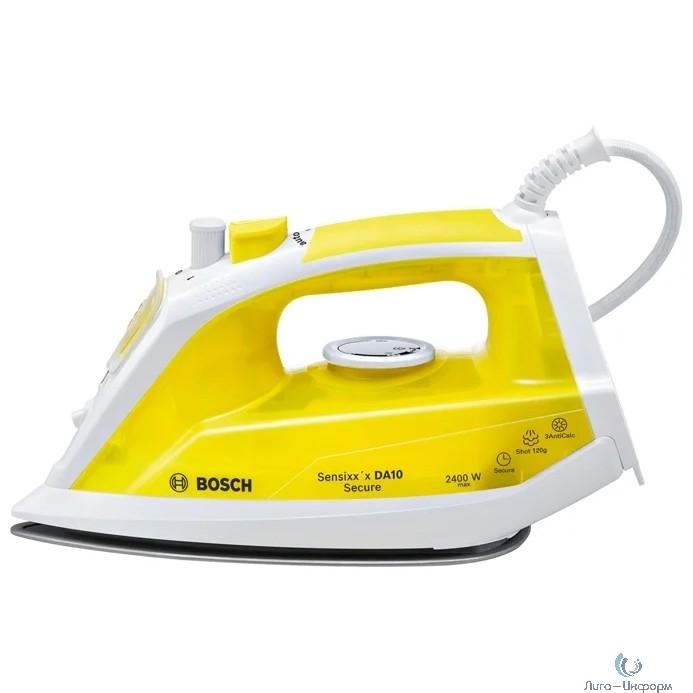 BOSCH TDA1024140 Утюг, керамическое покрытие, 2400 Вт, функция капля стоп, защита от накипи, жёлтый/ белый
