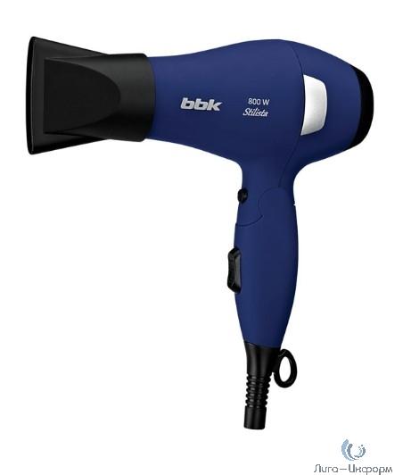 BBK BHD0800 (DB) Фен, темно-синий; Автоматическое отключение при перегреве.; длина шнура: 1.8м; мощность: 800Вт; цвет: темно-синий