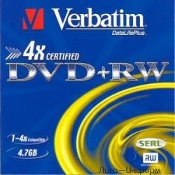 43636 Диски DVD+RW Verbatim 4х, 4.7Gb (Slim Case, 3 шт.)