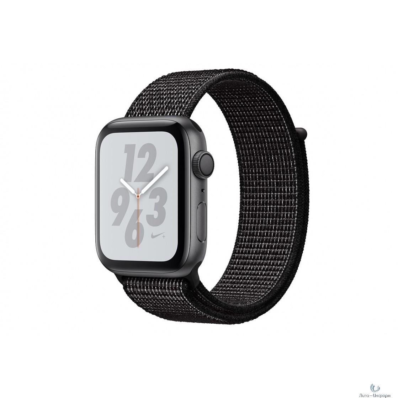 Apple Watch Nike+ Series 4, 40 мм, корпус из алюминия цвета «серый космос», спортивный браслет Nike чёрного цвета [MU7G2RU/A]